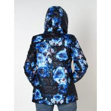 Куртка синяя с цветочным принтом