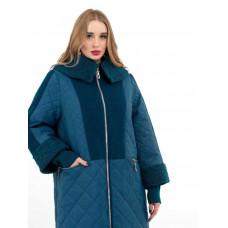 Пальто длинное с каракулем